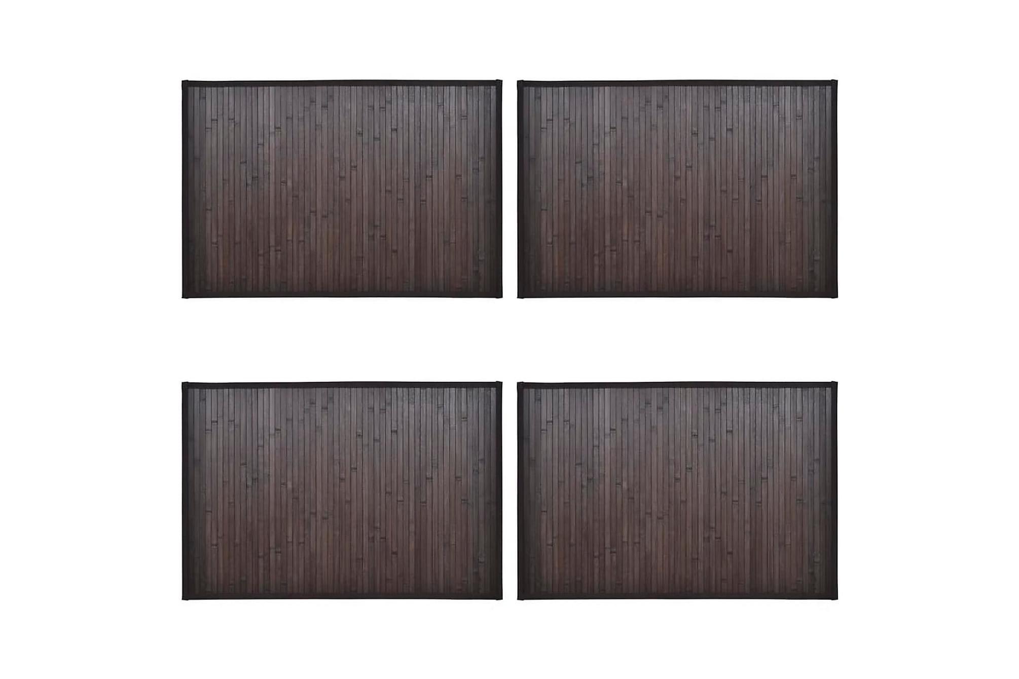 Bambumattor 4 st 40x50 cm mörkbrun, Badrumsmattor