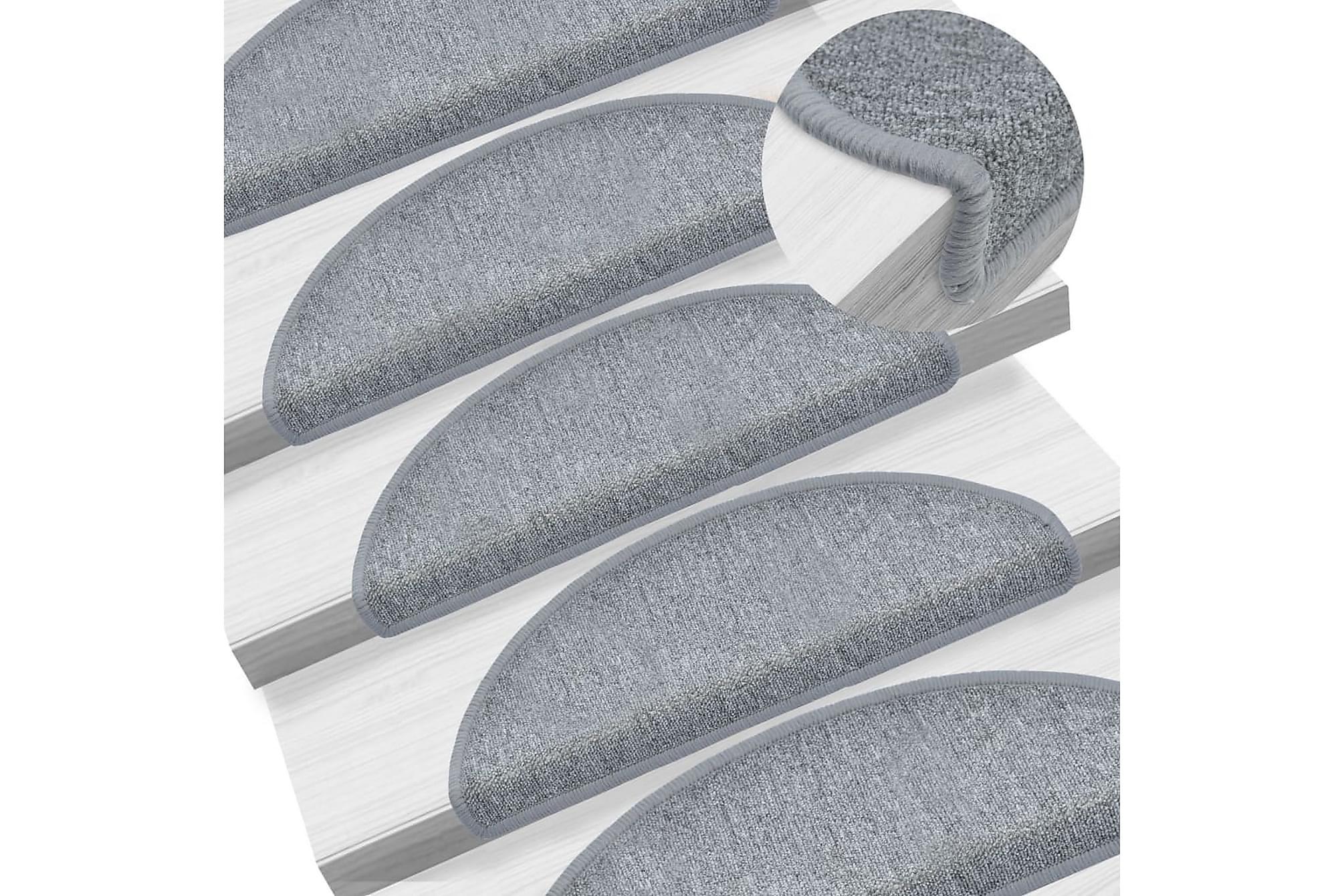 15 st Trappstegsmattor grå 65x24x4 cm, Trappstegsmattor