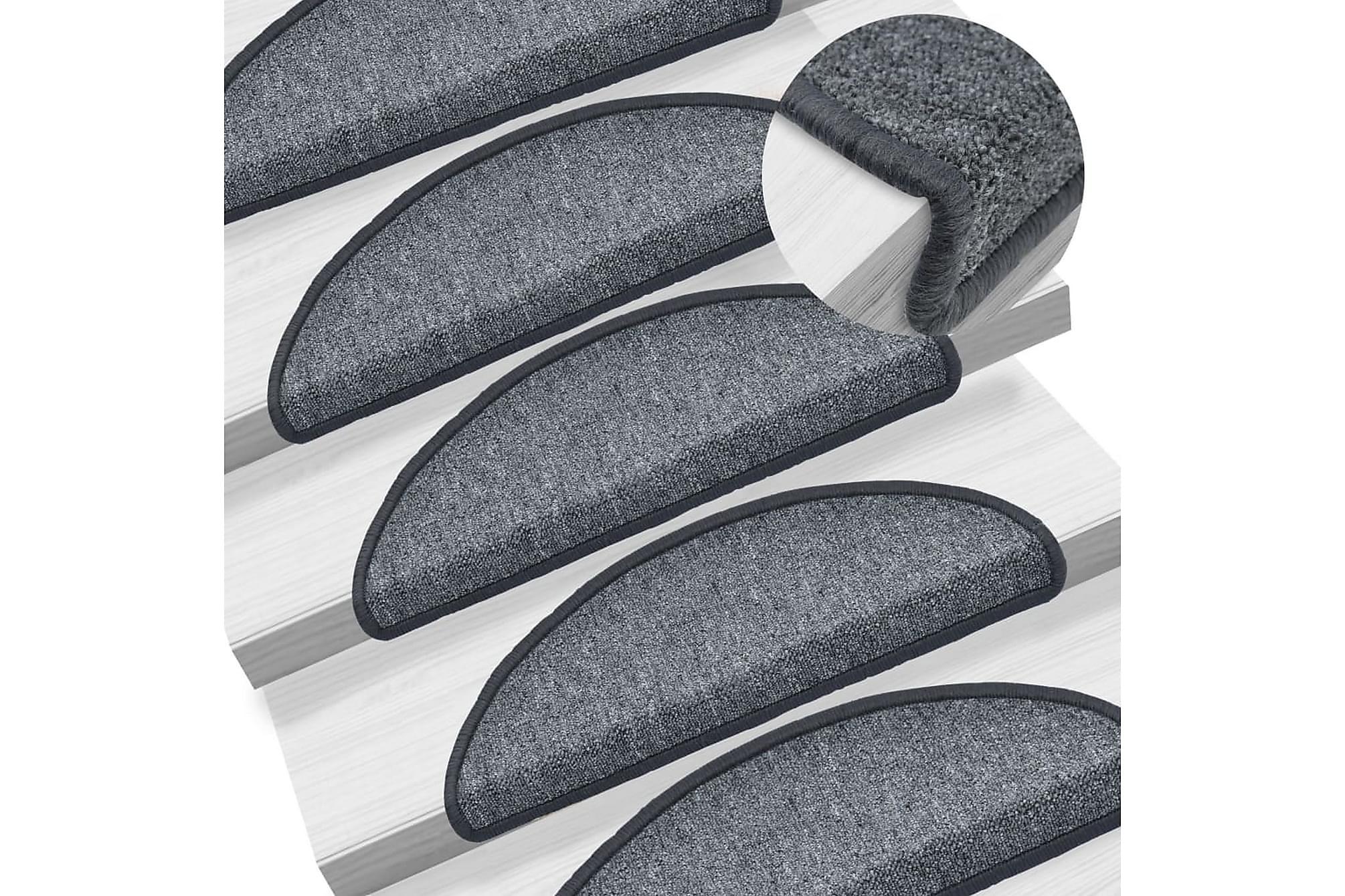 15 st Trappstegsmattor mörkgrå 65x24x4 cm, Trappstegsmattor