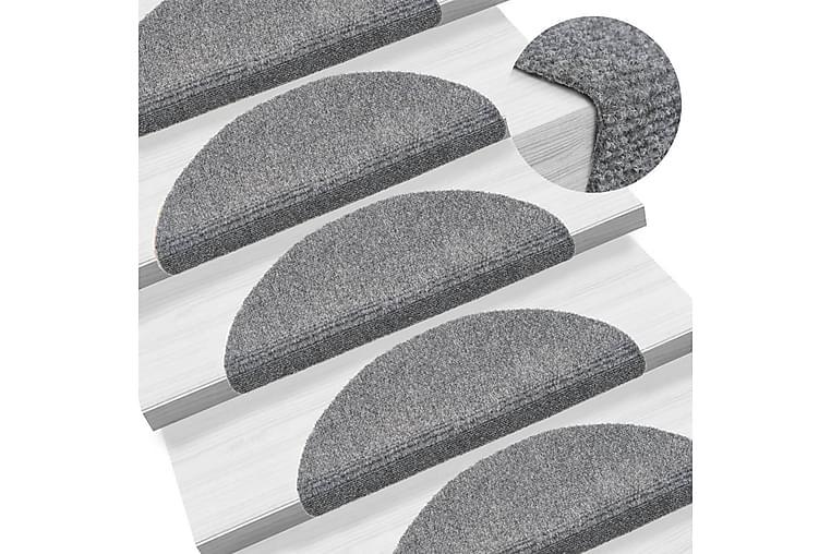 Trappstegsmattor självhäftande 5 st 54x16x4 cm brodyr - Grå - Möbler & Inredning - Mattor - Trappstegsmattor