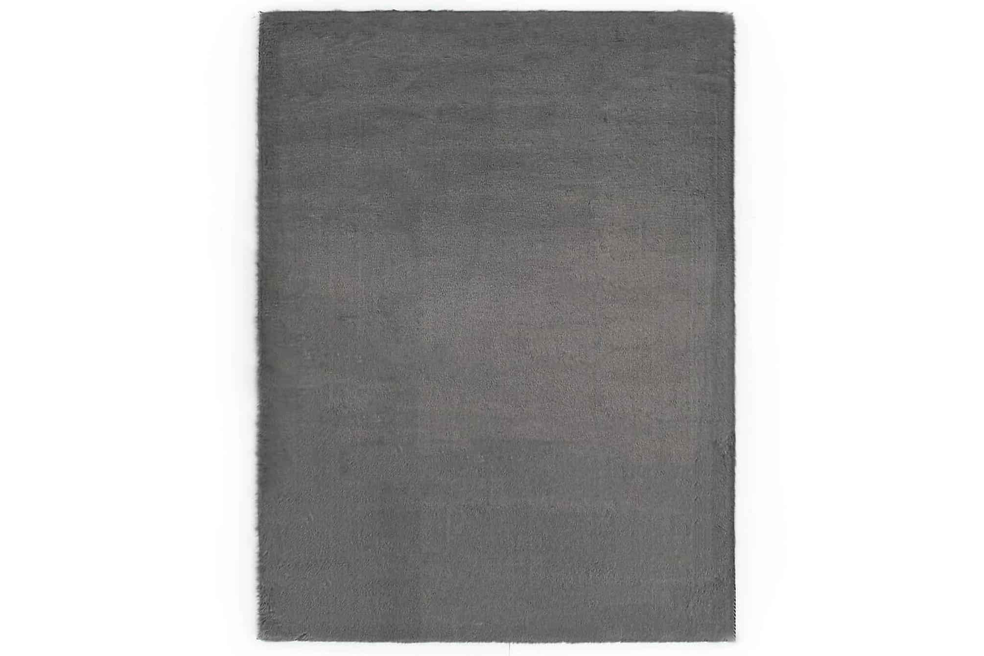 Matta 160×230 cm konstpäls mörkgrå