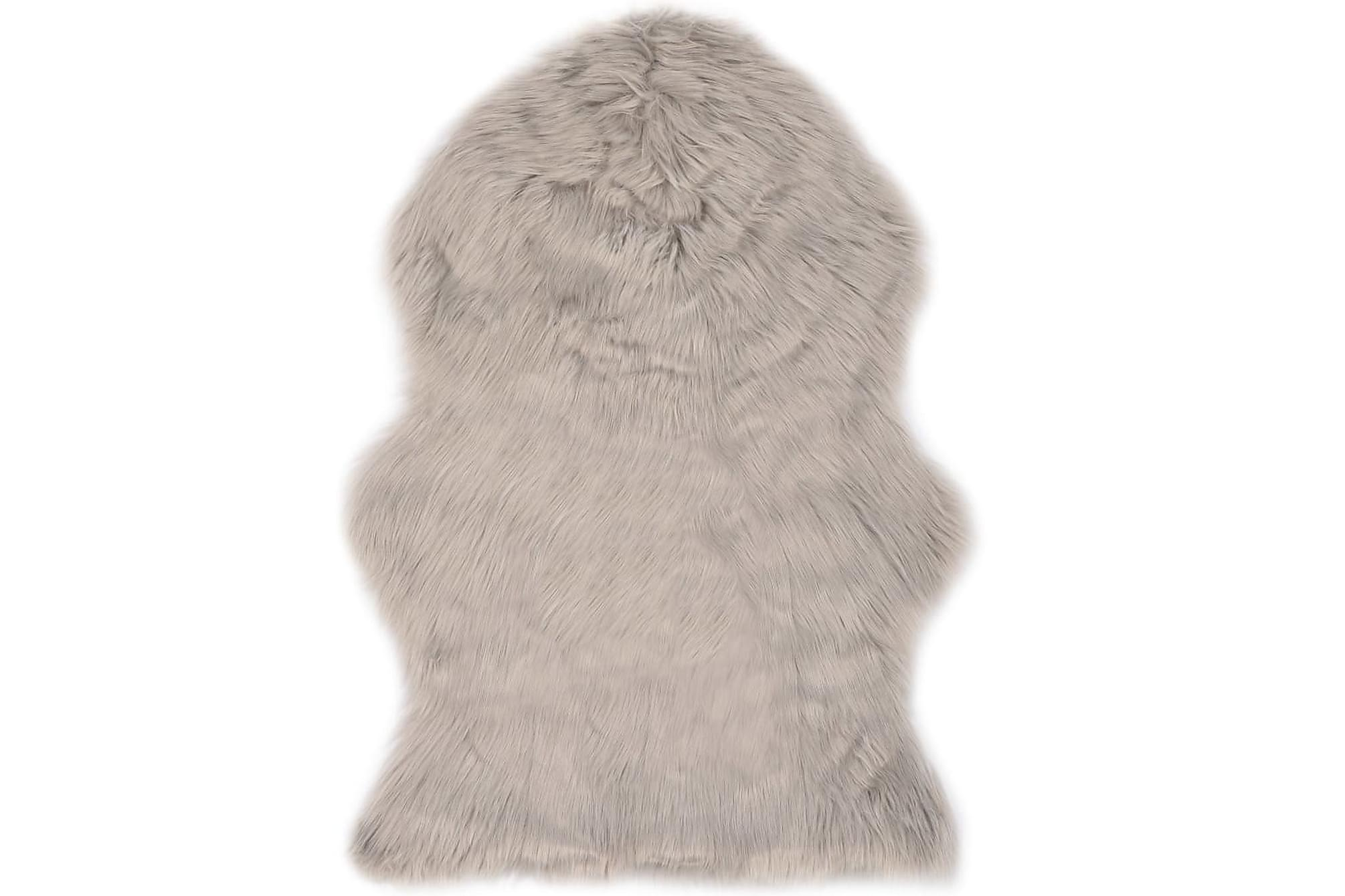 Matta 60×90 cm ljusgrå konstgjort fårskinn