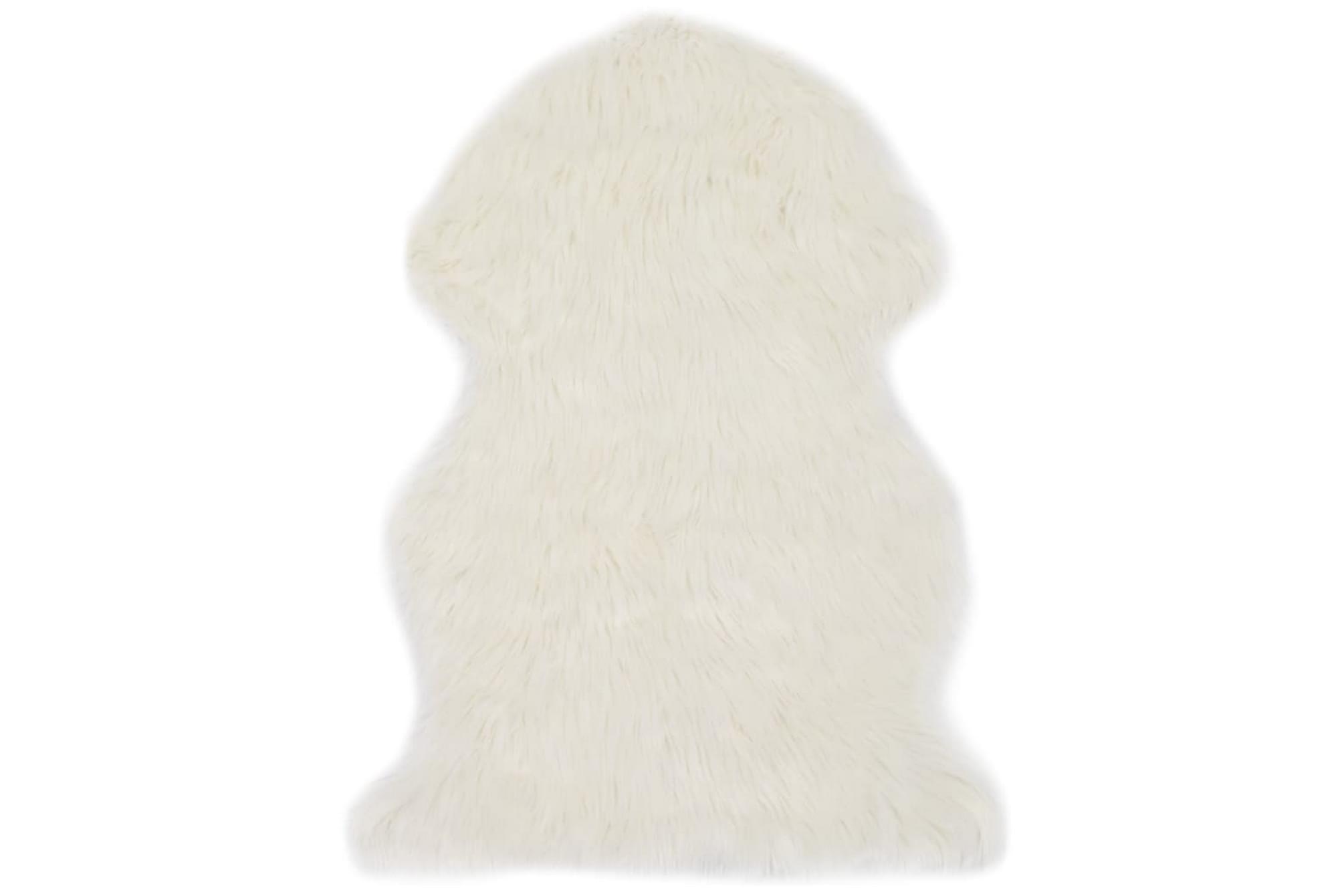 Matta 60×90 cm vit konstgjort fårskinn