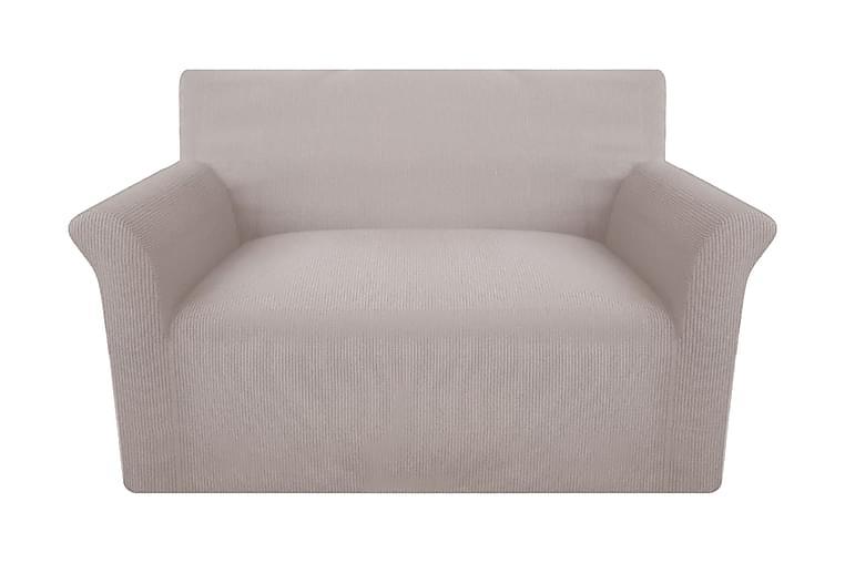 Sofföverdrag ribbstickad polyester stretch beige - Beige - Utemöbler - Tillbehör - Möbelöverdrag ute