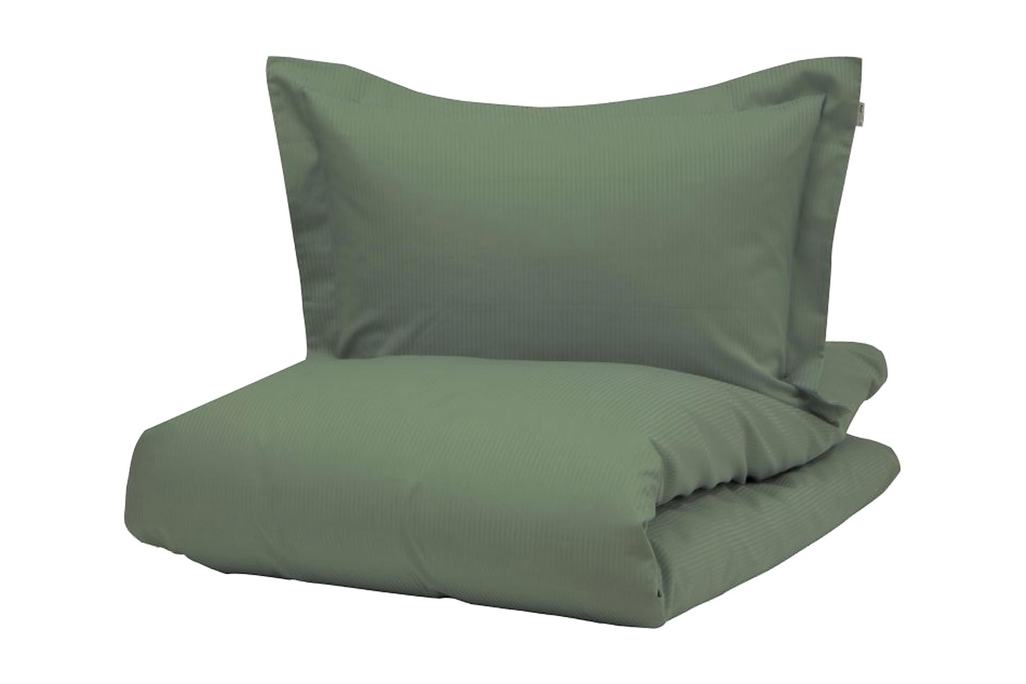 ALDERNEY Bäddset 220x230 cm Satin Mörkgrön, Sängkläder