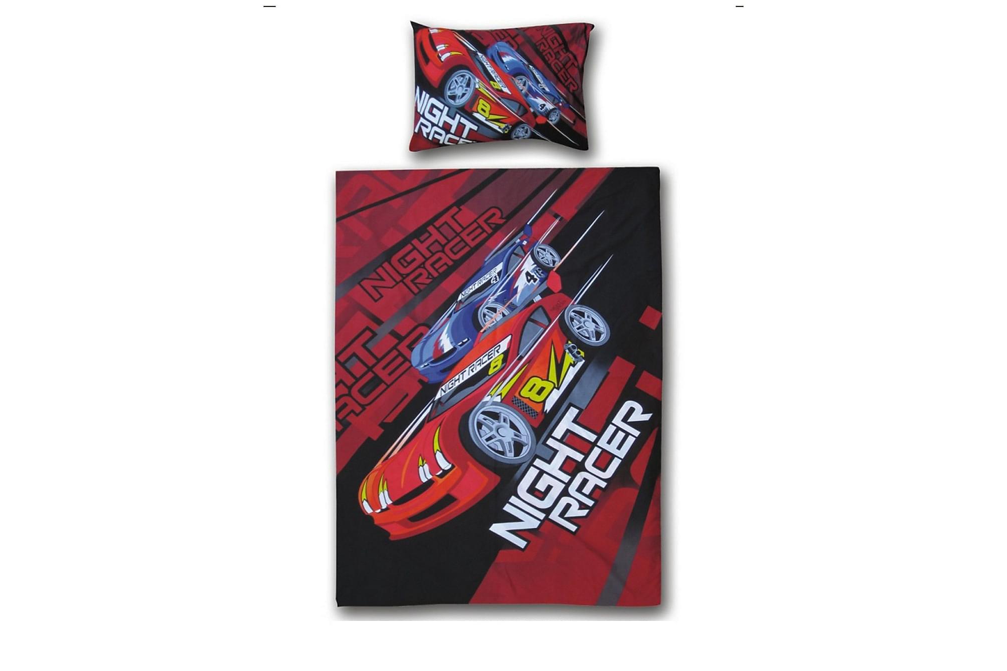 ASHCASH Bäddset Bil Racing Röd/Blå, Sängkläder