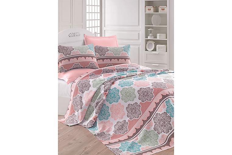 EPONJ HOME Överkast Dubbelt 200x235 Turkos/Rosa/Creme - Möbler & Inredning - Sängar - Sängkläder