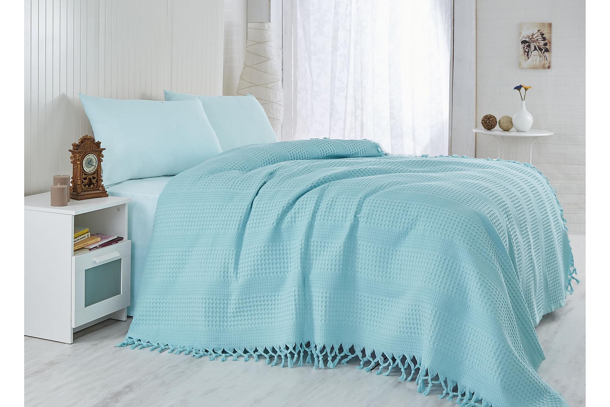 ?AHESER Överkast Enkelt 180x240 Turkos, Sängkläder