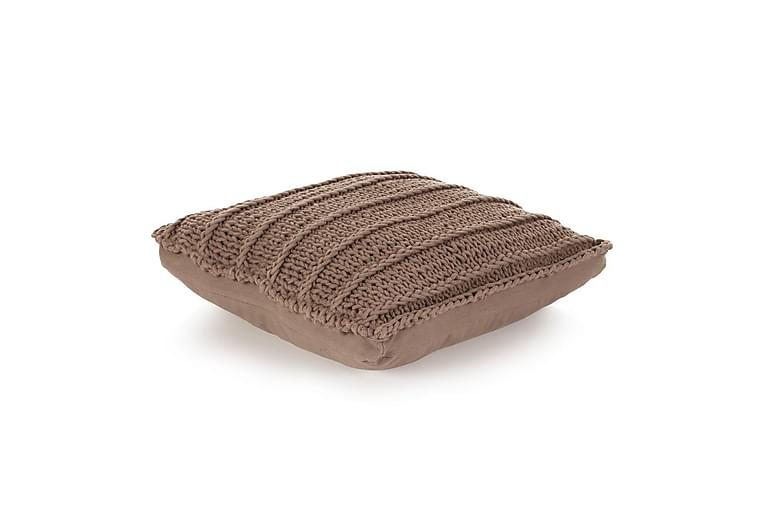 Golvkudde fyrkantig stickad bomull 60x60 cm brun - Brun - Möbler & Inredning - Inredning - Prydnadskuddar & filtar