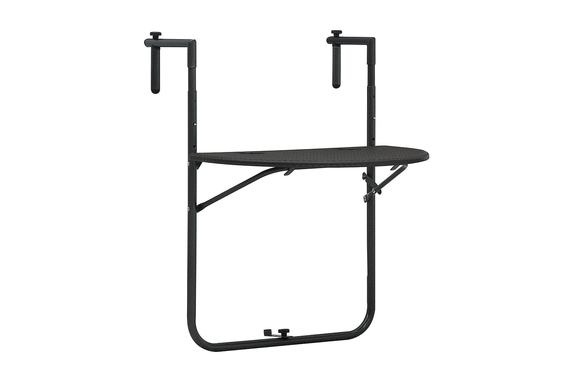 Balkongbord brun 60x64x83,5 cm plast konstrotting, Balkongbord