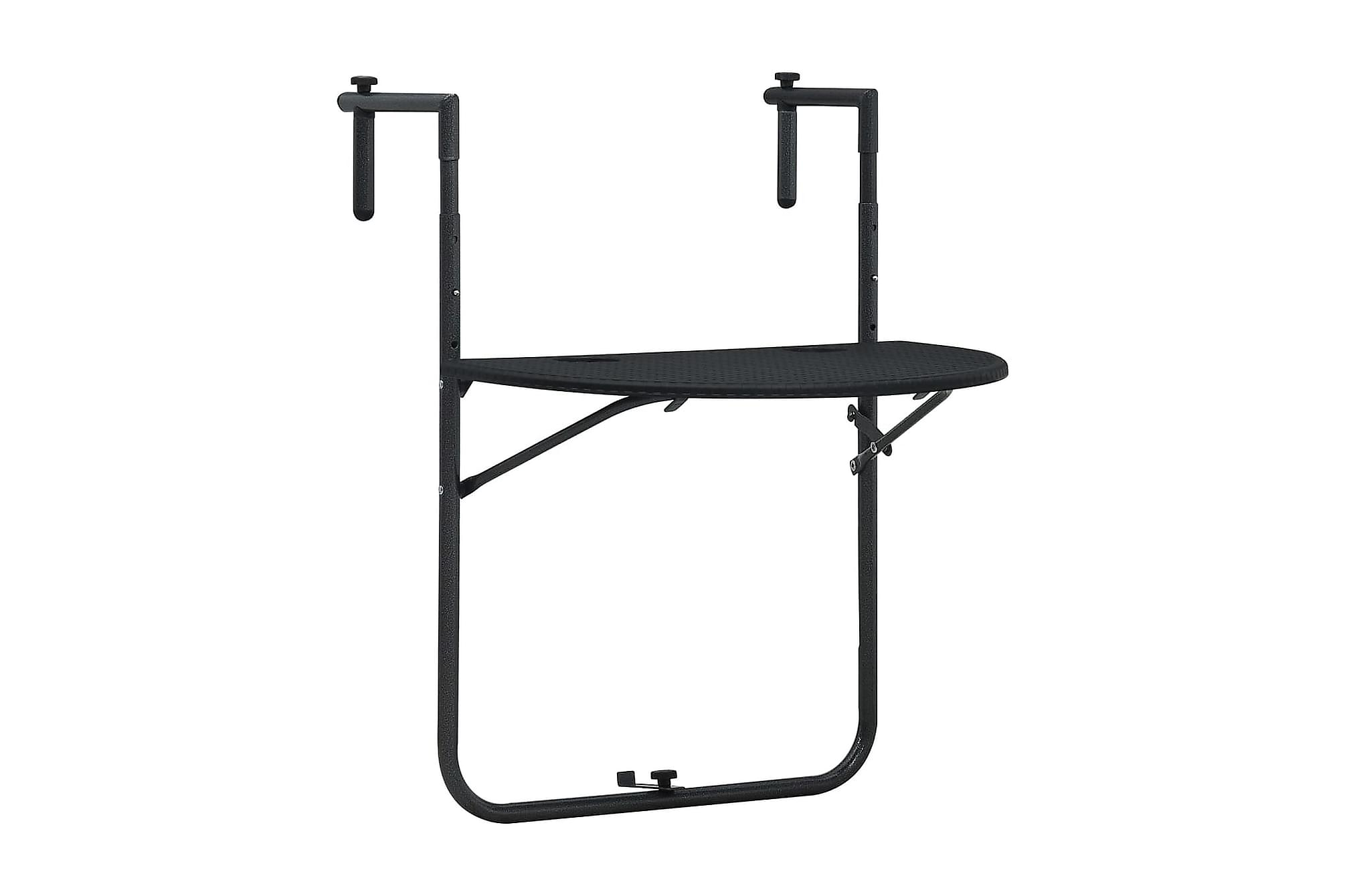 Balkongbord svart 60x64x83,5 cm plast konstrotting, Balkongbord