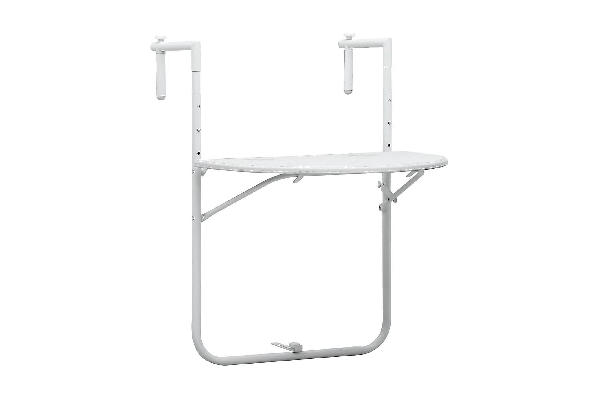 Balkongbord vit 60x64x83,5 cm plast konstrotting, Balkongbord