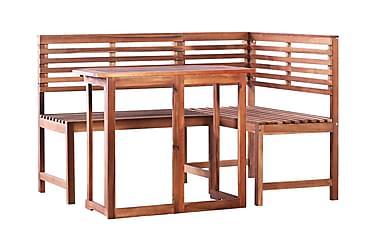 Balkongbord och hörnbänk 2 delar massivt akaciaträ