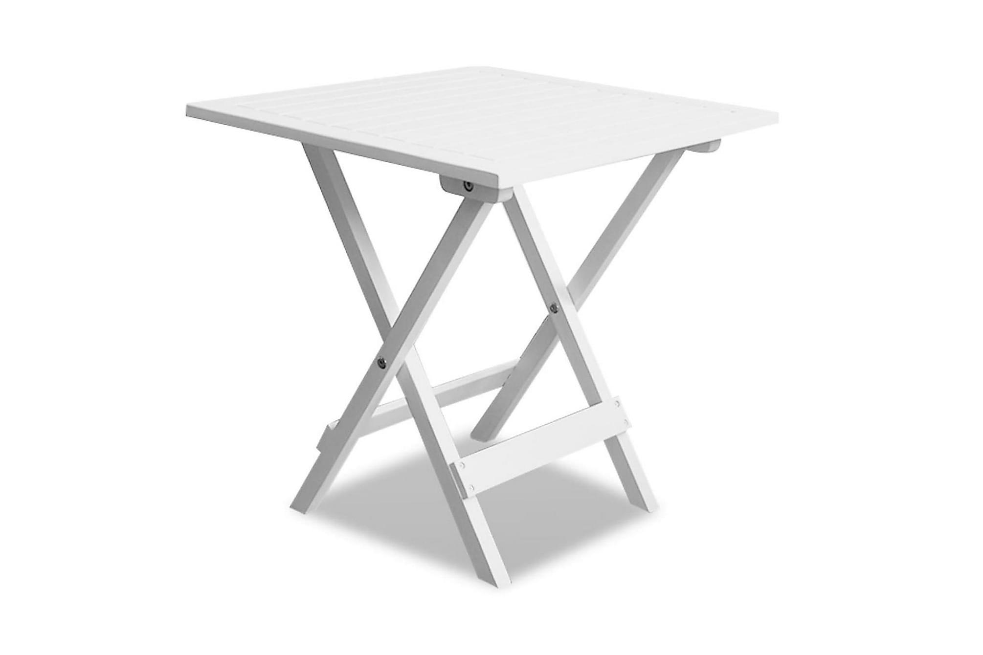 Cafébord vit 46x46x47 cm massivt akaciaträ, Balkongbord