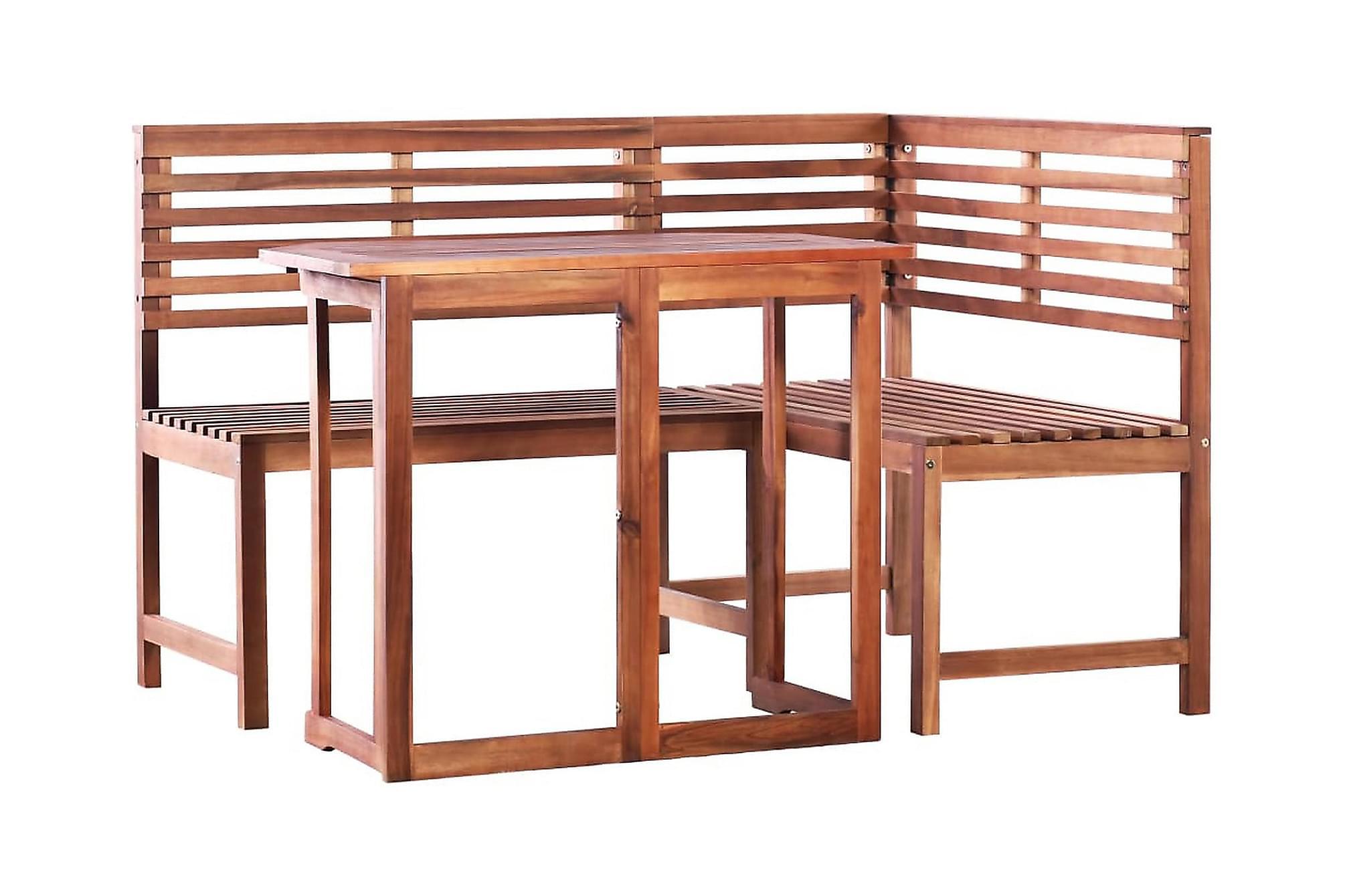 Caféset 2 delar massivt akaciaträ, Balkongbord