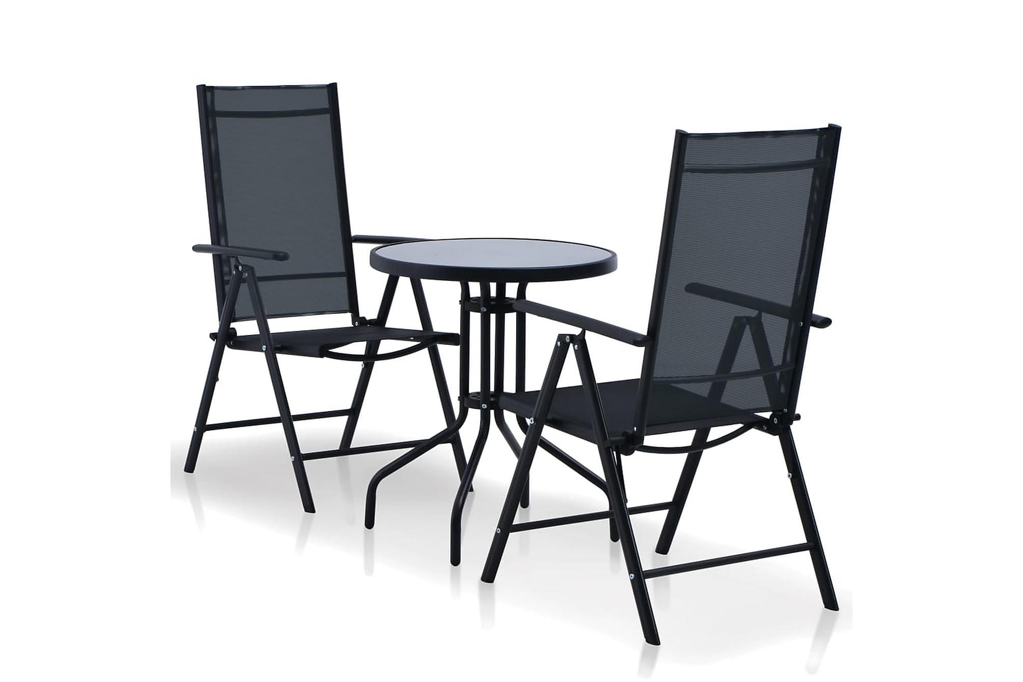 Caféset 3 delar aluminium och textilene svart, Balkongbord