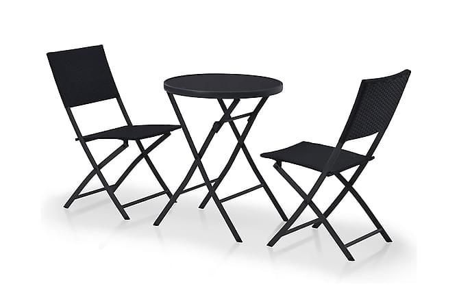 Caféset 3 delar konstrotting svart - Svart - Utemöbler - Balkongmöbler - Balkongbord