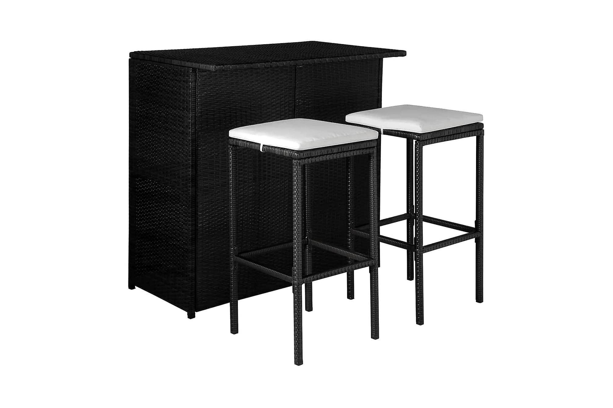 Caféset med dynor 3 delar konstrotting svart, Balkongbord
