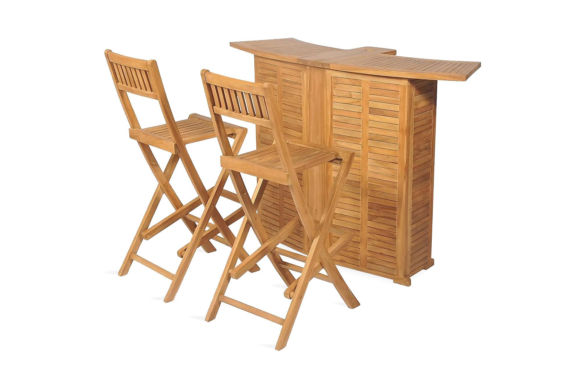 Caféset med hopfällbara stolar massivt teakträ, Balkongbord