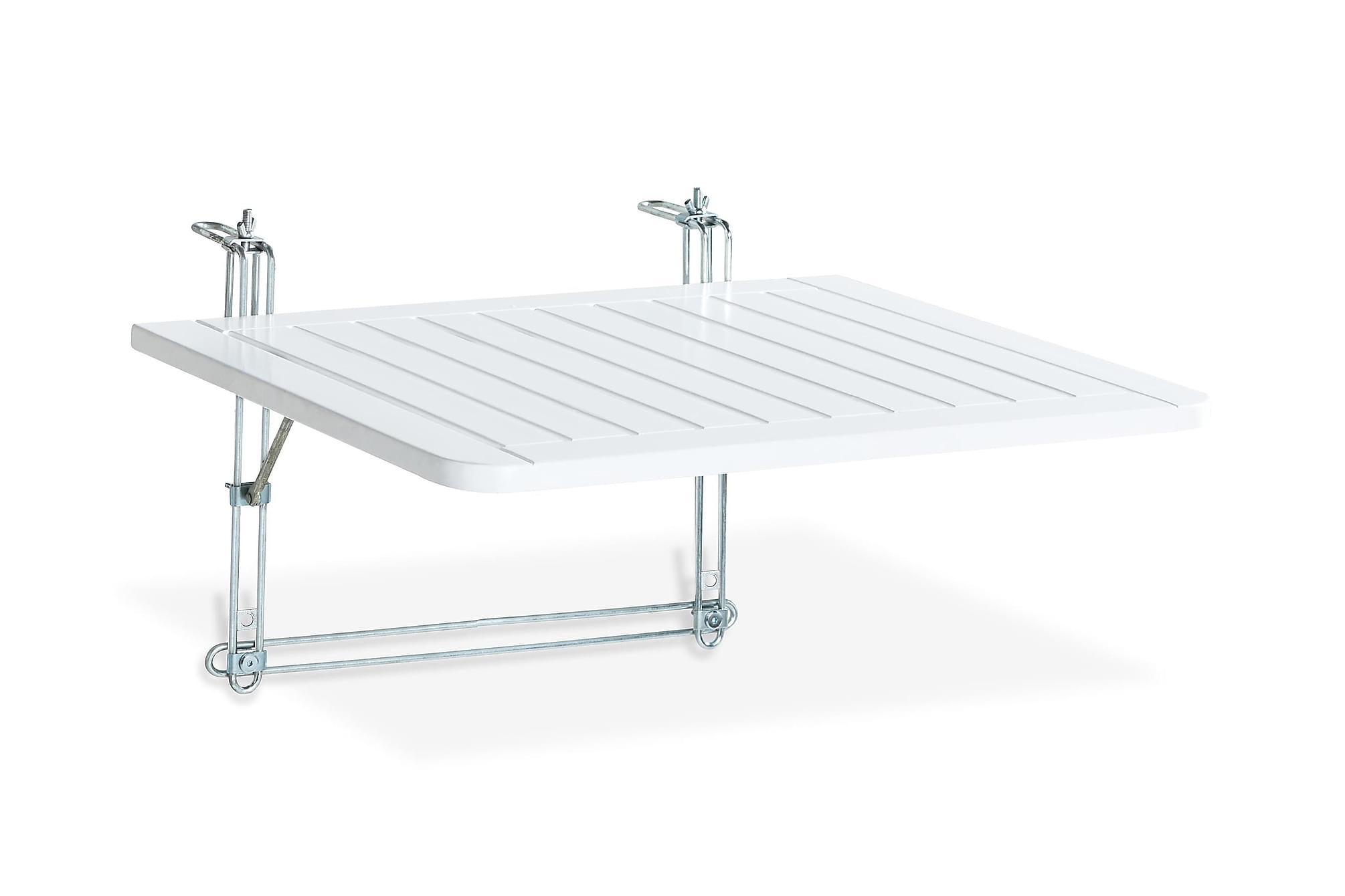 DALARÖ Balkongbord 60x52 Vitlackerad Akacia, Balkongbord