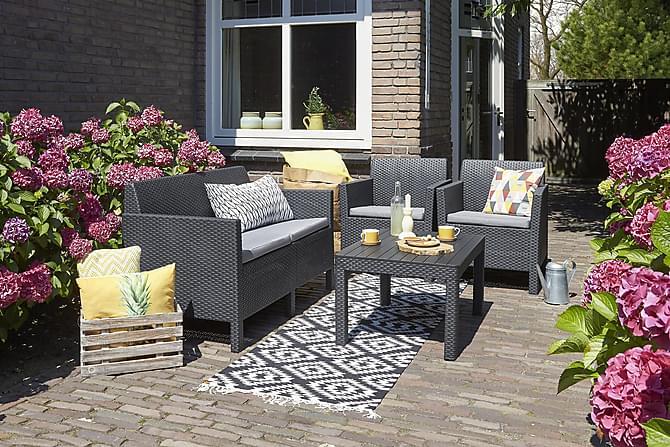 ORLANDO Loungegrupp Antracitgrå - Utemöbler - Balkongmöbler - Balkongbord