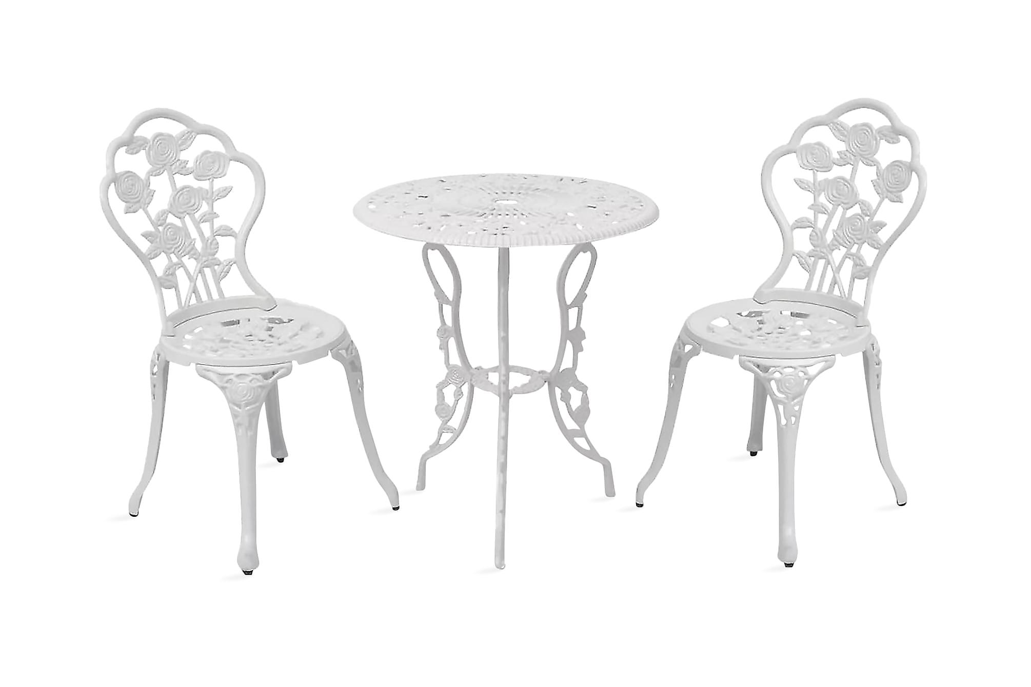 Caféset 3 delar gjuten aluminium vit, Balkonggrupper