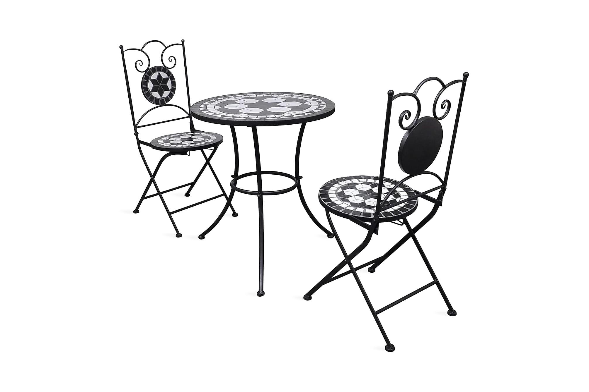Caféset 3 delar keramik svart och vit, Balkonggrupper