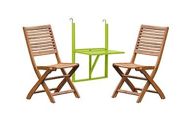 HUSARÖ Balkongbord 60x80 Grön + 2 SANDÖ Klappstol Akacia