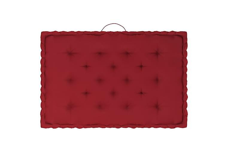 Dynor till pallsoffa 7 st vinröd bomull - Röd - Utemöbler - Dynor - Soffdynor