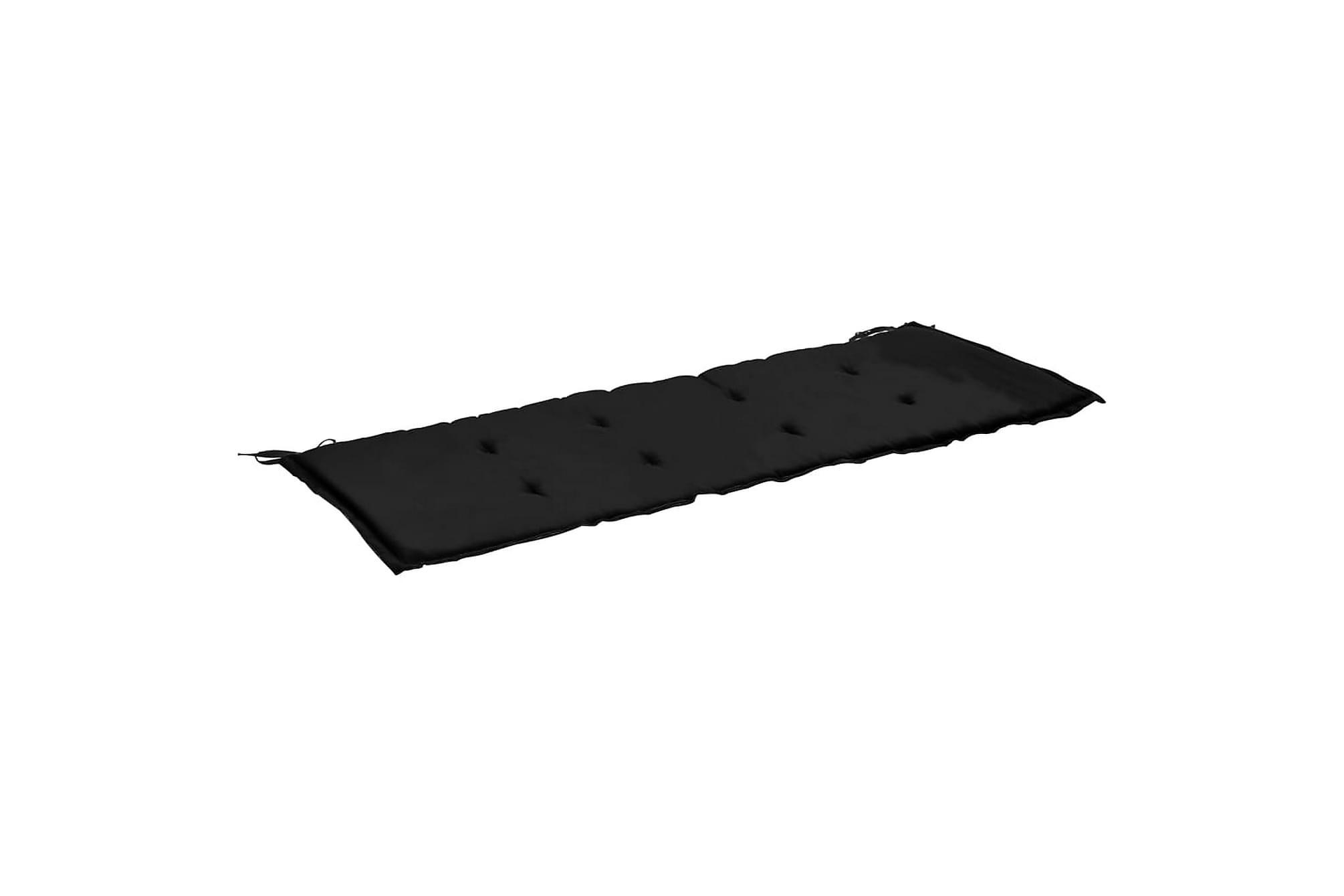 Bänkdyna för trädgården svart och grå 120x50x3 cm, Soffdynor
