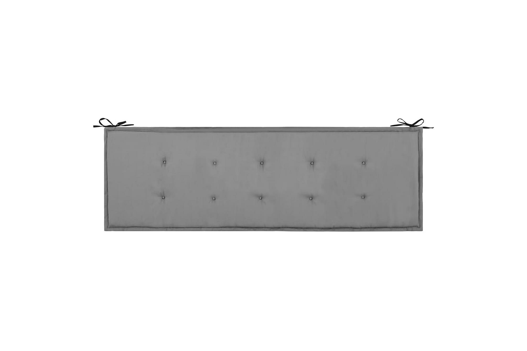 Bänkdyna för trädgården svart och grå 150x50x3 cm, Soffdynor