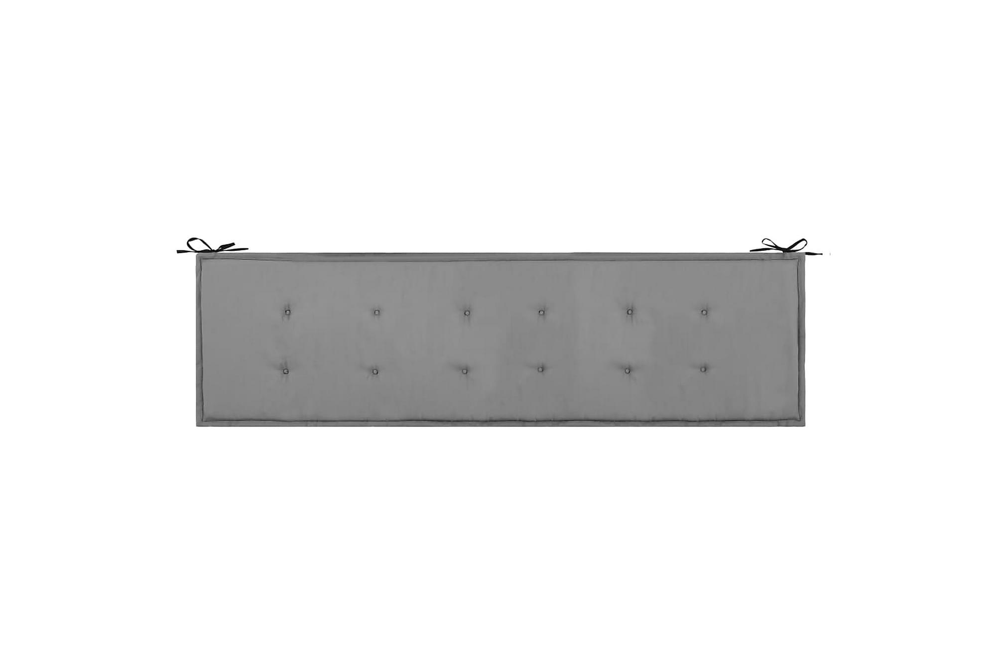 Bänkdyna för trädgården svart och grå 180x50x3 cm, Soffdynor