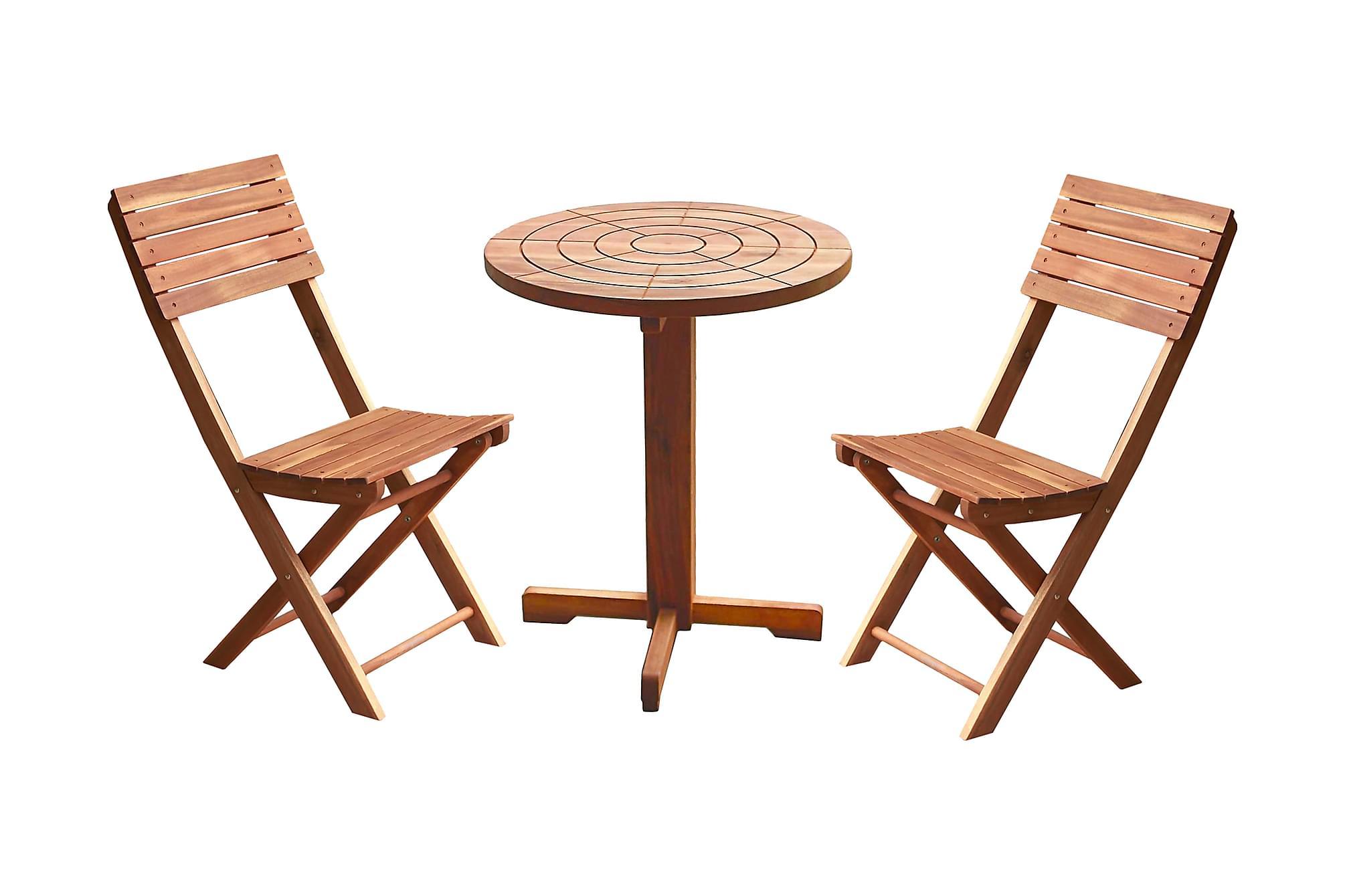 ASKÖ Cafébord 60 Runt + 2 Klappstolar Natur