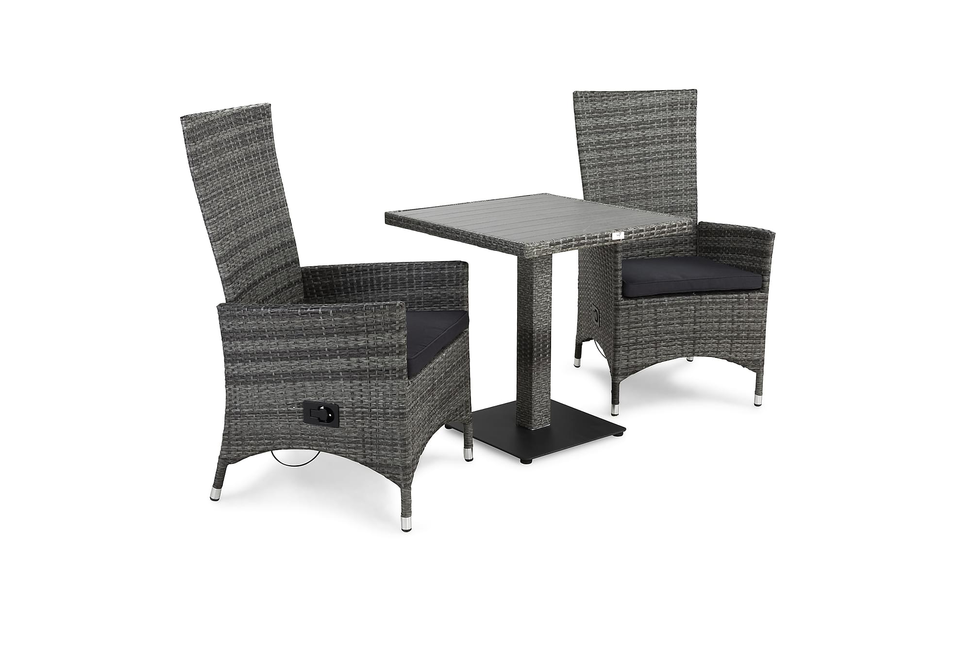 BAHAMAS Cafébord 70 + 2 JENNY Fåtölj Grå + Dyna Grå