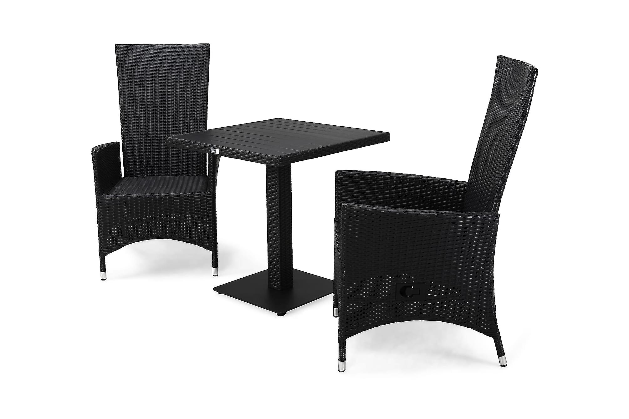 BAHAMAS Cafébord 70 + 2 JENNY Fåtölj Svart