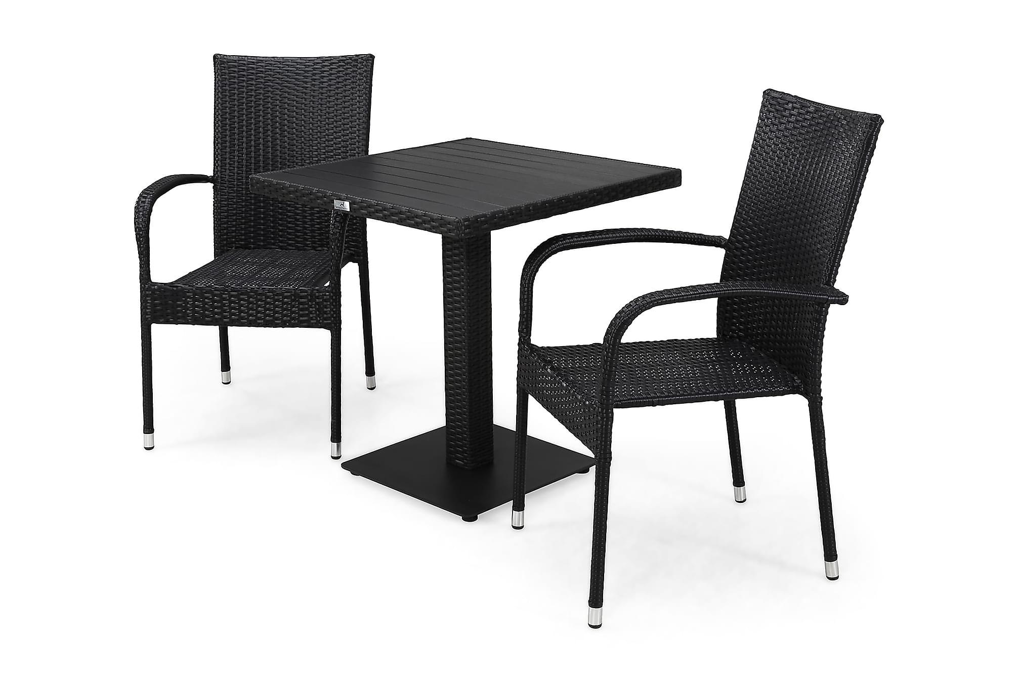 BAHAMAS Cafébord 70 + 2 THOR LIGHT Fåtölj Svart