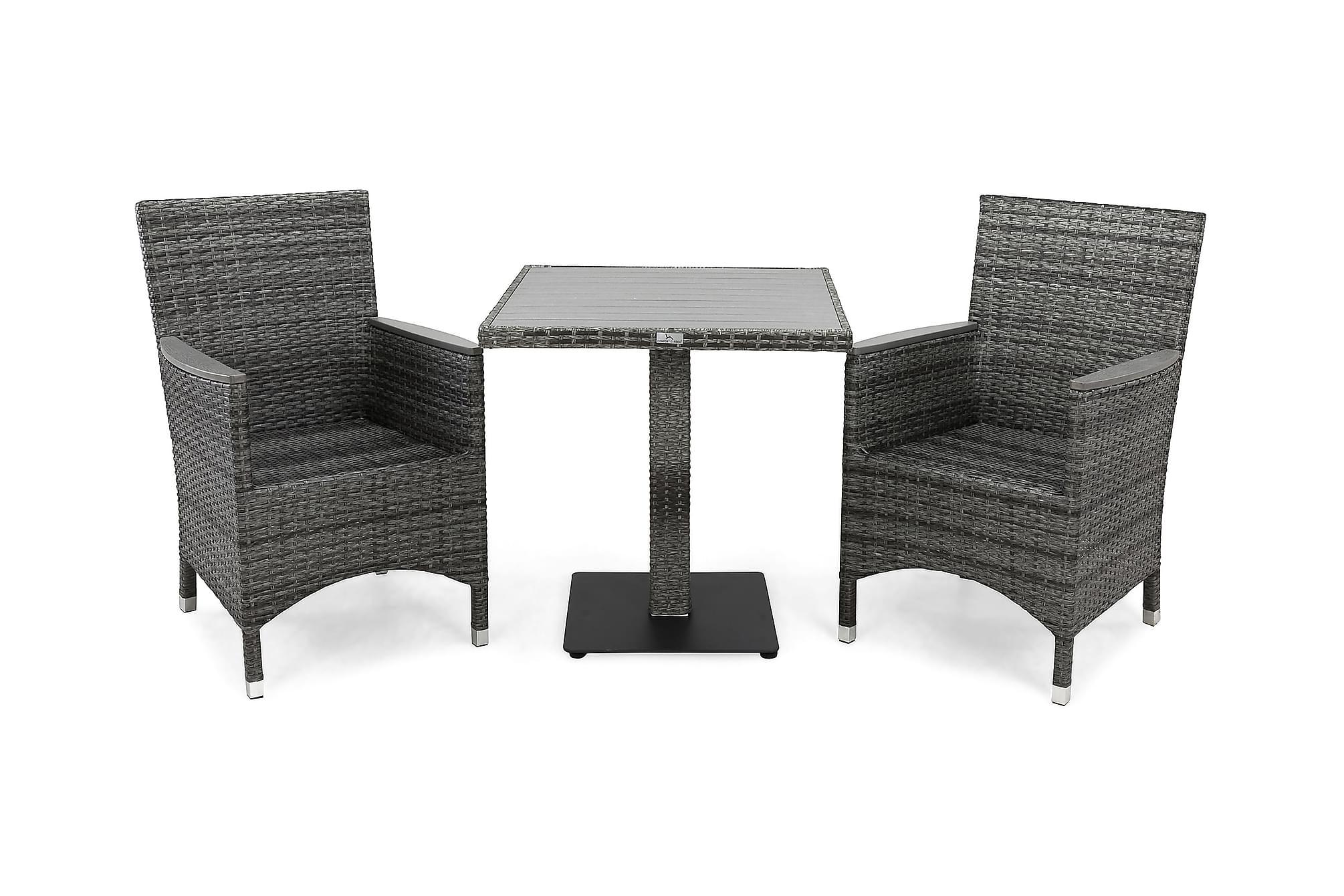 BAHAMAS Cafébord 70 + 2 THOR LYX Fåtölj Grå