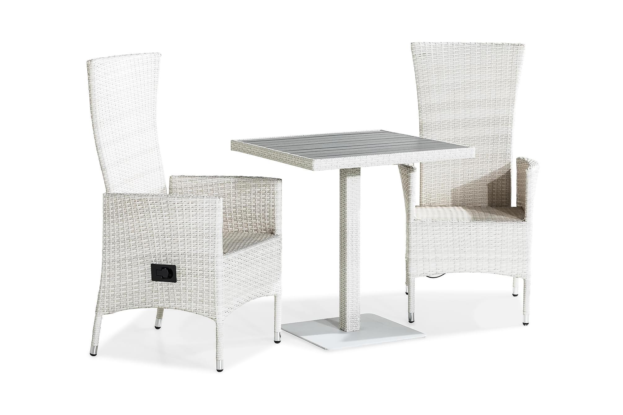 BAHAMAS Caféset 70×70 + 2 JENNY Fåtölj Vit
