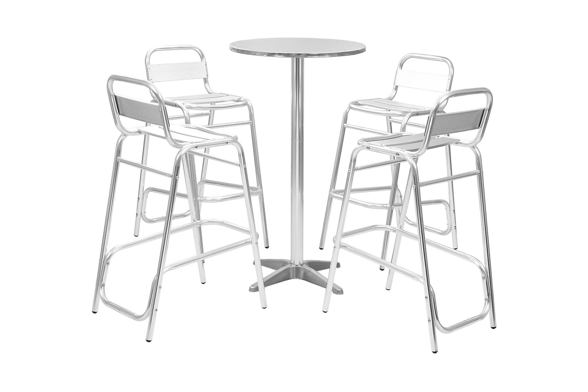 Bargrupp 5 delar med runt bord aluminium silver, Caféset