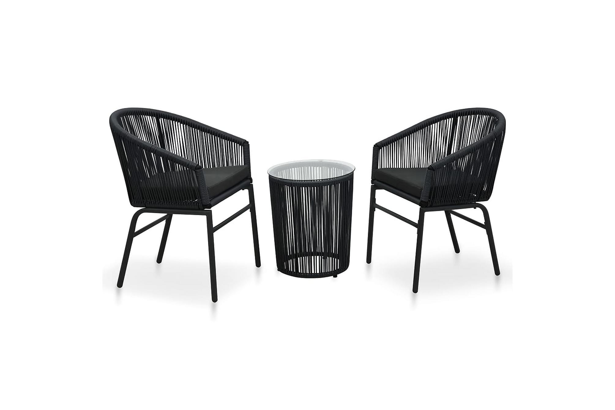 Bistrogrupp 3 delar med dynor PVC-rotting svart, Caféset