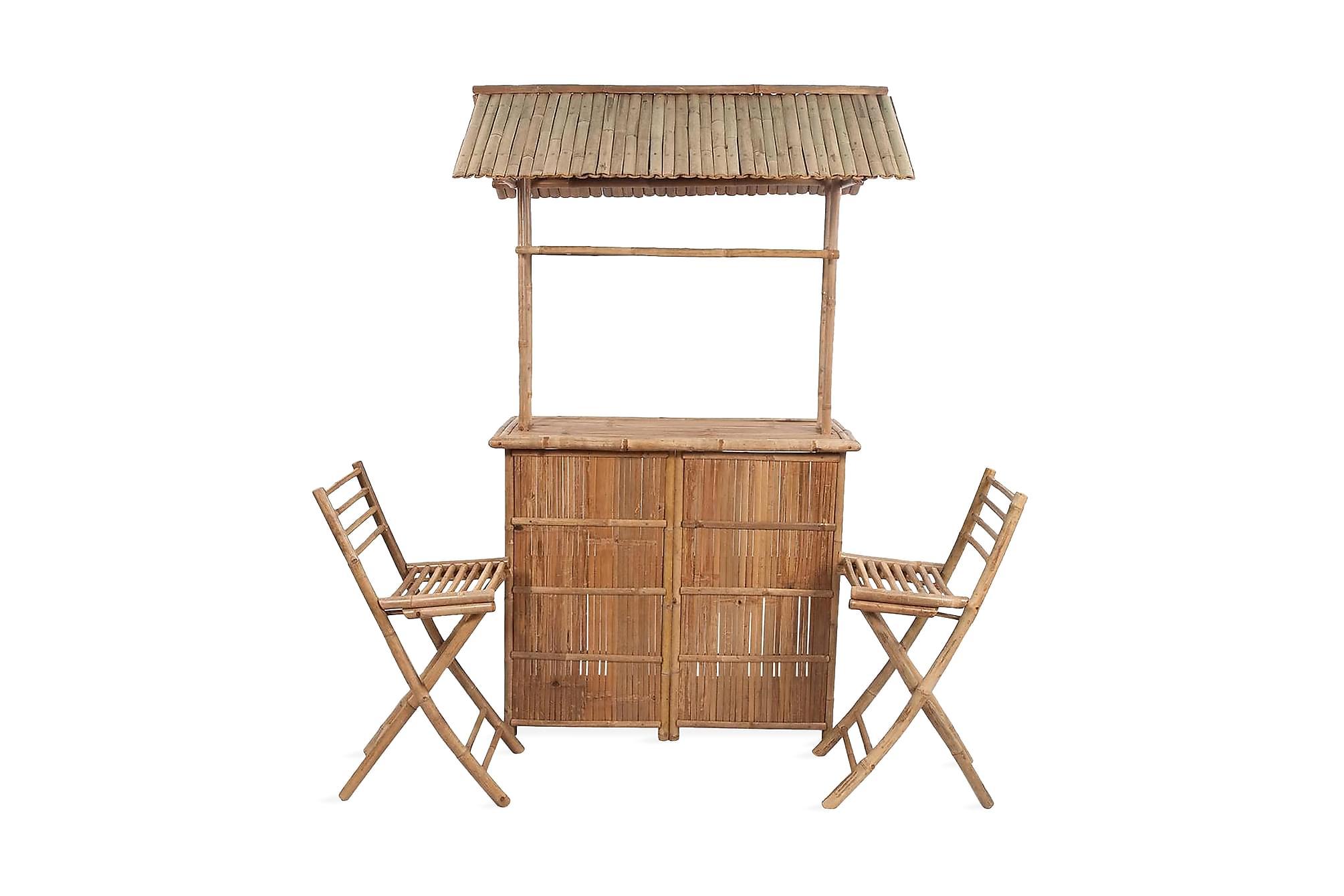 Caféset 3 delar bambu, Balkongbord
