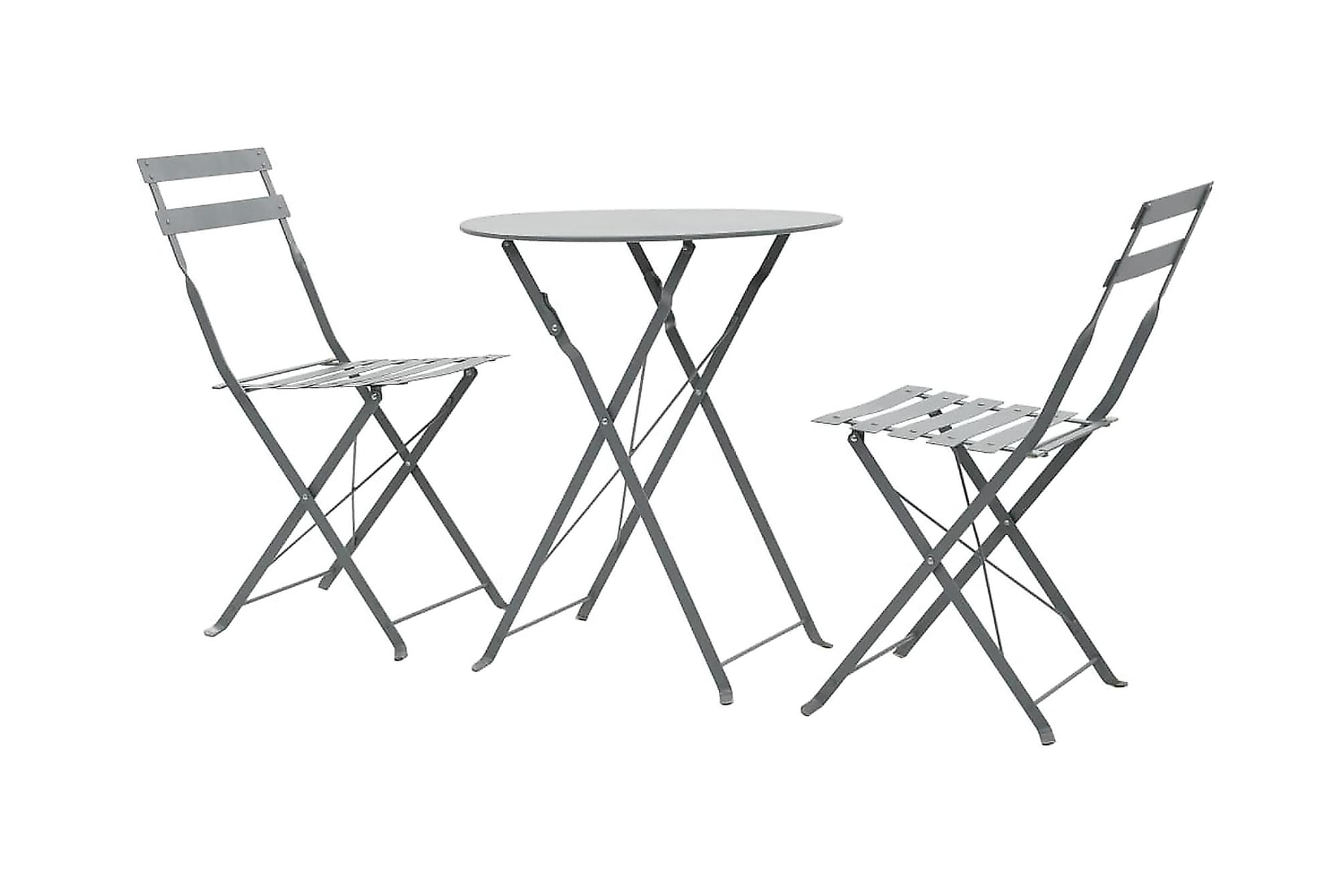 Caféset 3 delar grå stål
