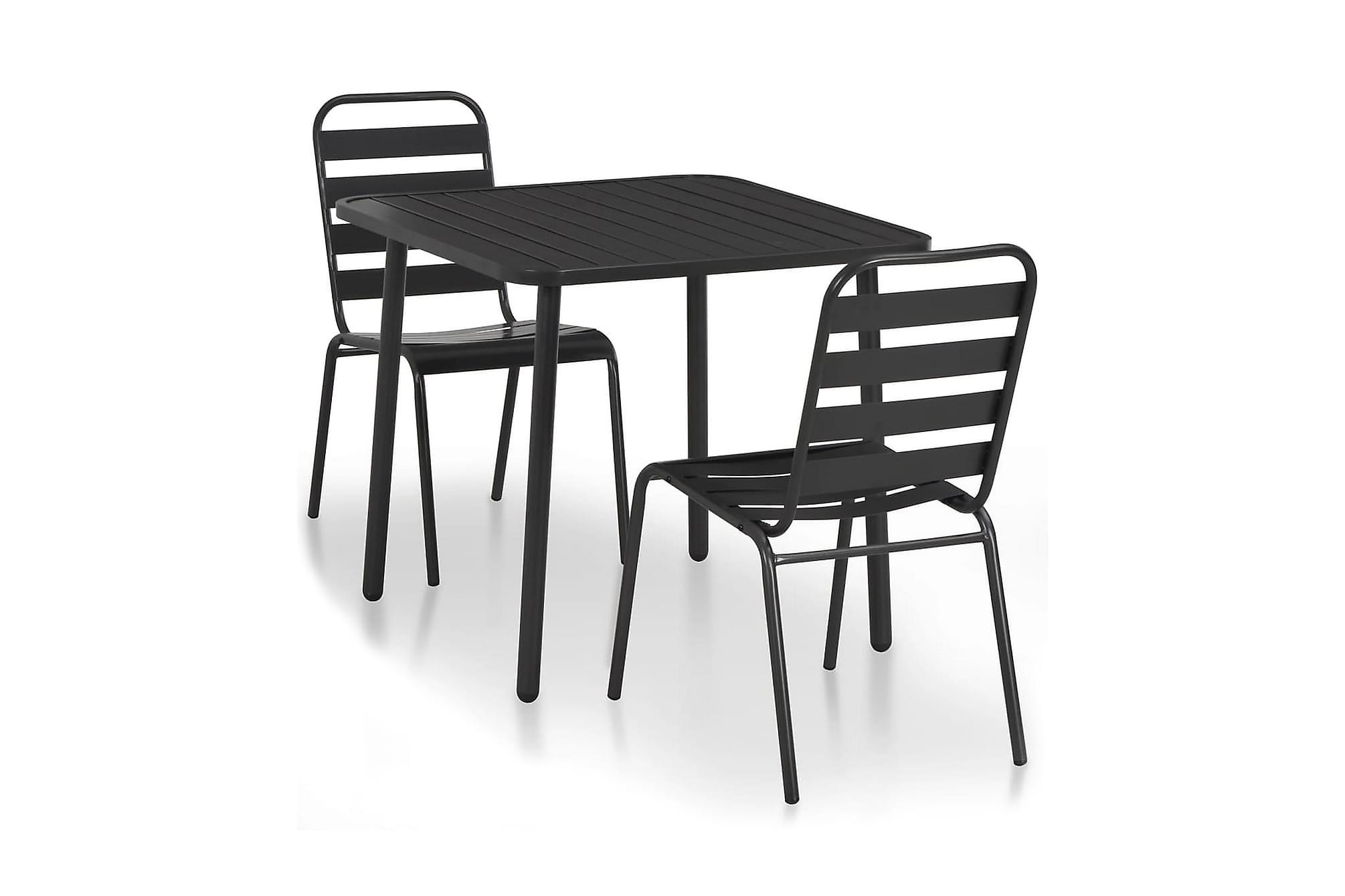 Caféset 3 delar stål mörkgrå ribbad