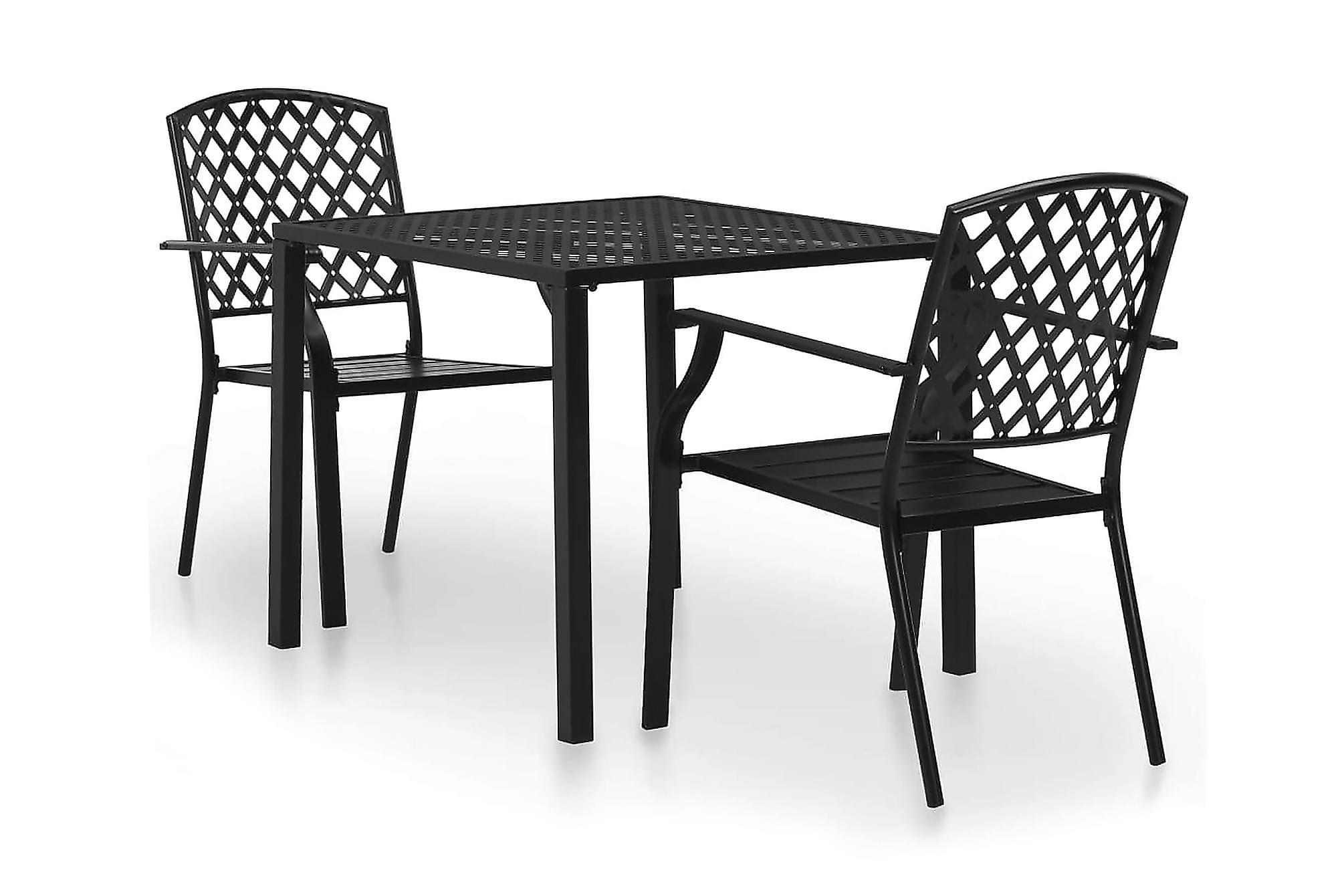 Caféset 3 delar stål svart nät