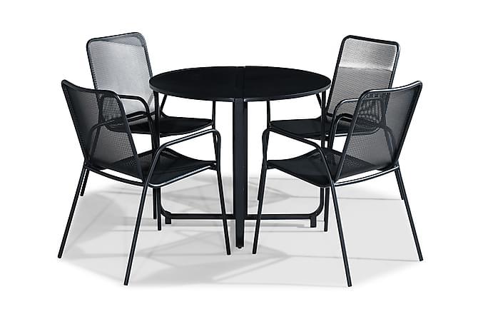 FLIPPY Cafébord 90 Runt + 4 JEAN Stol Svart - Utemöbler - Utemöbelgrupper - Caféset