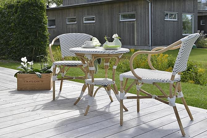 HILLERSTORP SELECT Cafébord 69 Runt + 2 Stolar Vit/Beige - Utemöbler - Utemöbelgrupper - Caféset