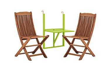 HUSARÖ Balkongbord 60x80 Grön + 2 DALARÖ Klappstol Akacia