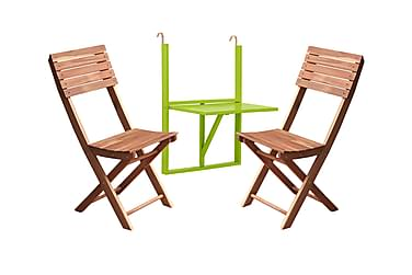 HUSARÖ Balkongbord 60x80 Grön + ASKÖ Klappstol Akacia