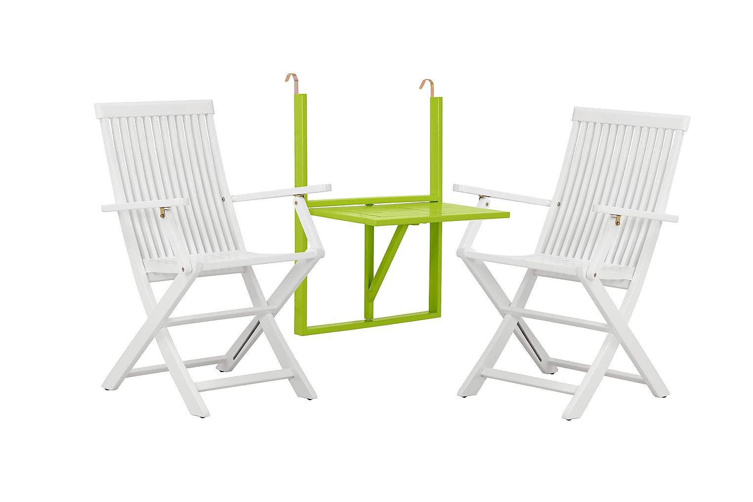 Lambert LAMBERT Balkongbord Grön + 2 Karmstolar Vit -