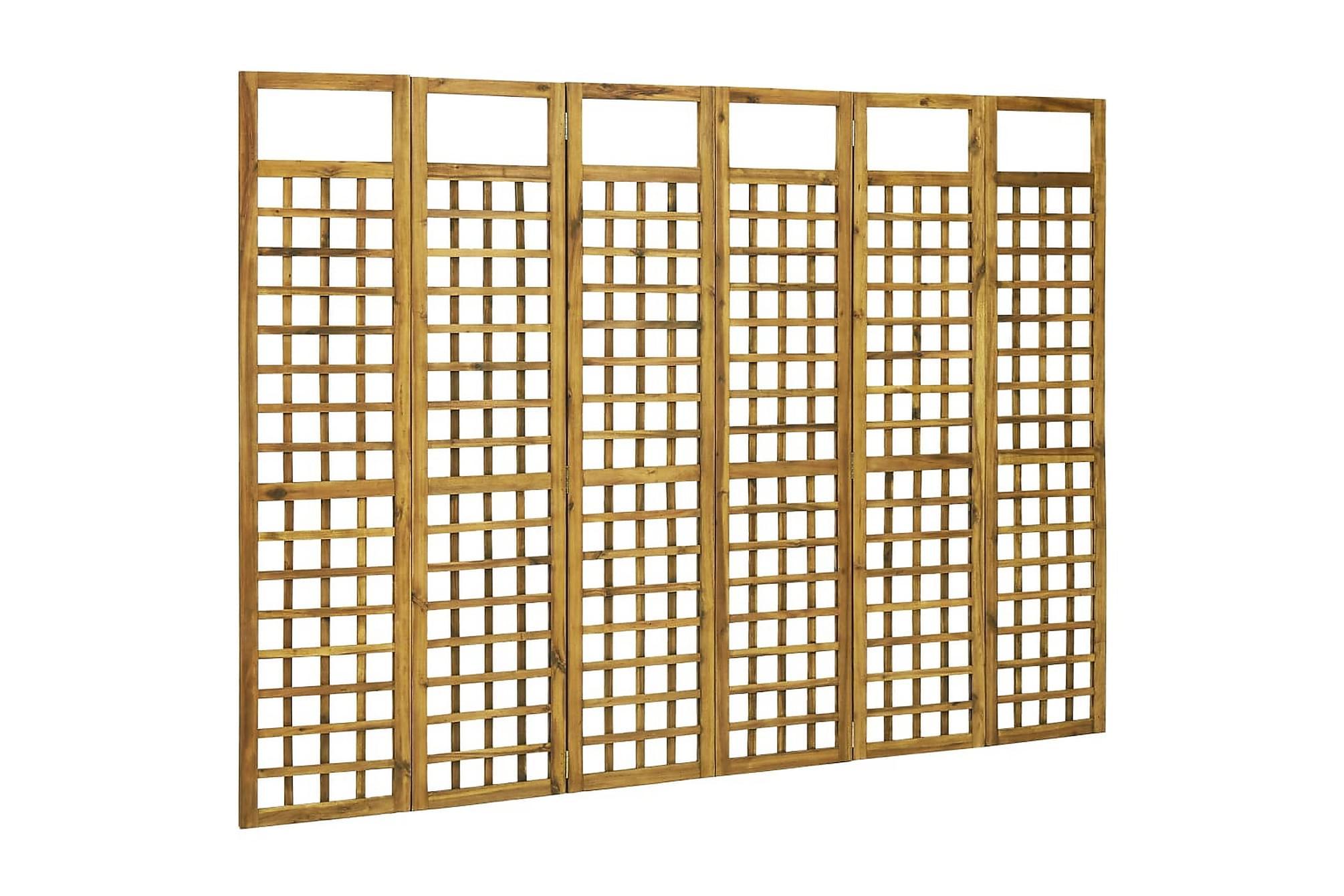 Rumsavdelare/Spaljé 6 paneler massivt akaciaträ 240×170 cm